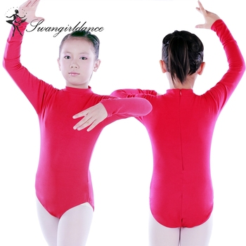 670ca2fbe5efc CS0255 Children long sleeve mock turtleneck back zip girls dance wearing  ballet leotards