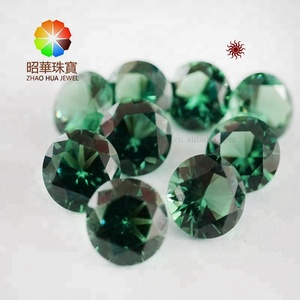 WUZHOU GEMS Color change nano sital crystal gems 8.0mm round cut stones Sapphire blue Green tourmaline gemstone