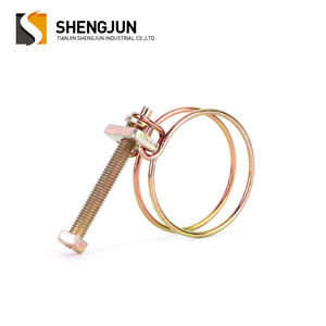 Hot selling double wire steel pole strut clamps / double wire tension hose clips