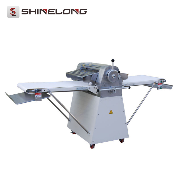 F096 Stand Type Automatic Small Cookie Dough Roller Sheeter Machine Conveyor Belt and Roller Driven