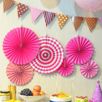 Tissue Paper Fans Decorations Flowers Wedding Wall Stripe Fan Pinwheel Party Supplies