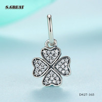 16 wholesale Symbol of lucky in love clear cz silver charm beads pendants charms fit pandora jewelry charm