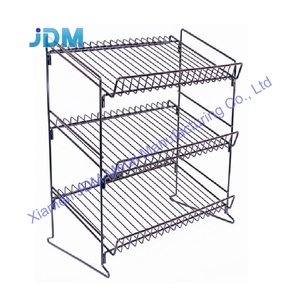 Customized high quality 3 tiers retail book gift card counter display rack cd or dvd counter display stand