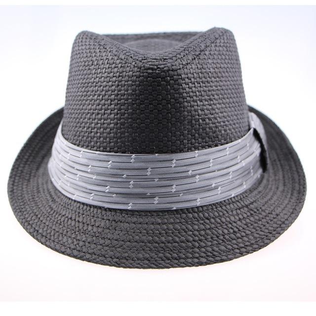 1979deff71b 2015 Brand Mens New Summer Style Sun Beach Plaid Panama Black Striped  Ribbon Wide Brim Foldable