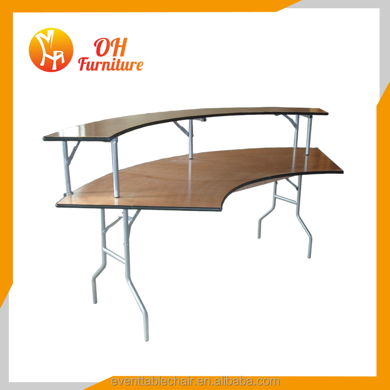 OH foldable 18mm Plywood 6ft Serpentine Wood Folding Table for sale