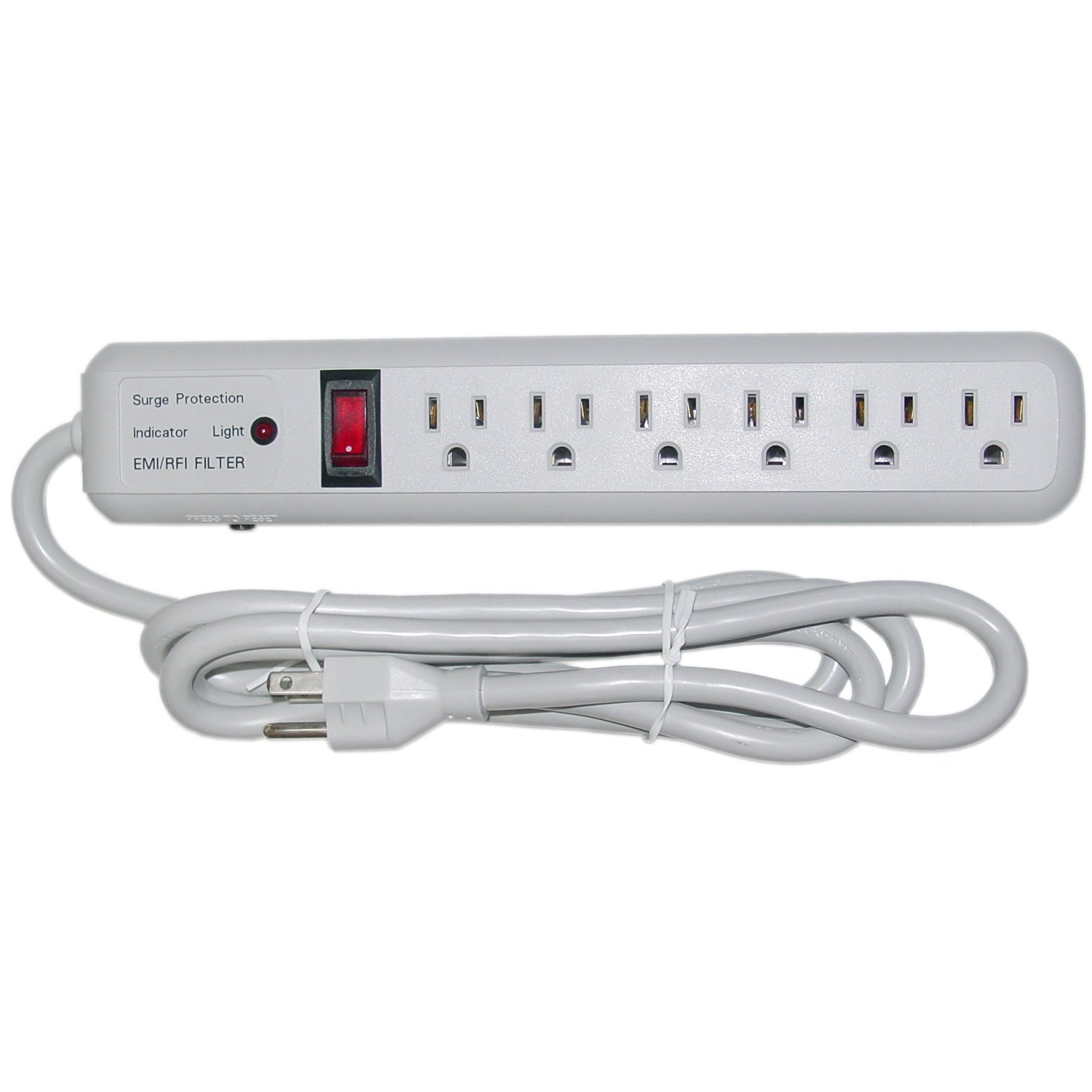 GadKo Surge Protector, 6 Outlet, Gray, Vertical Outlets, 3 MOV, 540 Joules, EMI / RFI, Power Cord 6 foot