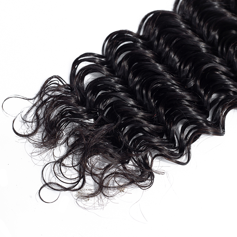 100 Percent Malaysian Deep Wave Curly Remy Virgin Human Hair Bundle 3Pcs Lot With Silk Base Lace Closure Middle Part