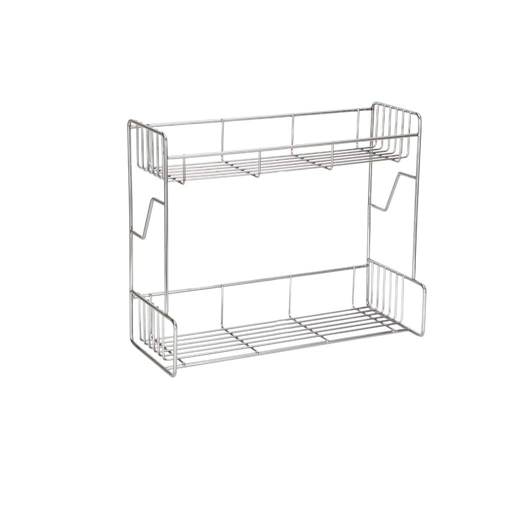 GAOYANG Sauce Rack, Stainless Steel, Double Kitchen With Food Rack, Wall-mounted, Kitchen Seasoning Rack, Oil Bottle Storage Rack (Color : Silver)