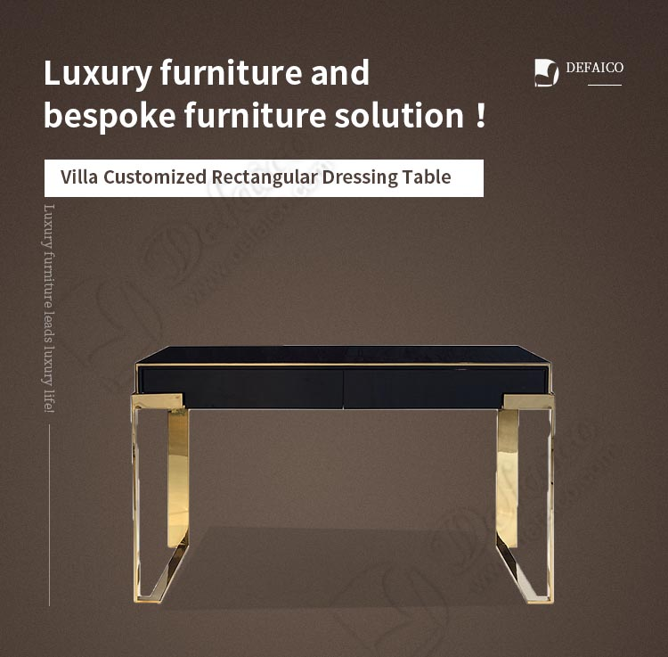 Villa Customized Rectangular Black Solid Wood Top 304 Stainless Steel Leg Luxury Dressing Table Console