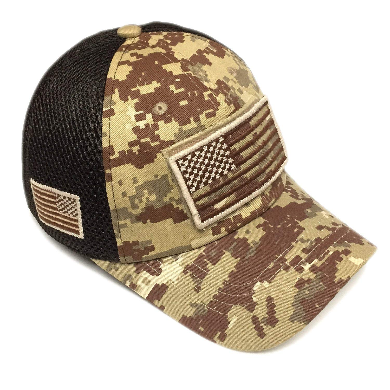 17243c0436e Get Quotations · Military Army Desert Khaki Brown Camo Vintage Cotton Cap  USA Flag Patch Trucker Mesh Baseball Hat