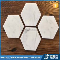 White Marble stone coaster natural marble hexagonal tea cup coaster