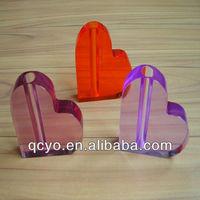 Heart shape acrylic crystal office pen holder