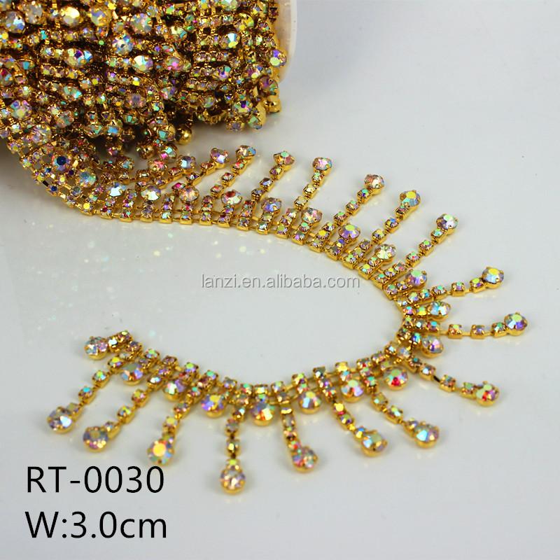 Cup Chain Trim  Crystal Chain Beaded Applique Applique Sew Rhinestone Chain