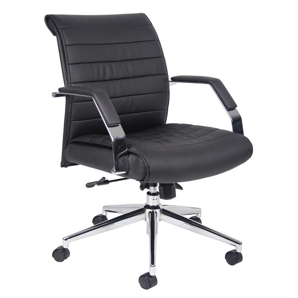 "Florence Faux Leather Mid Back Computer Chair Dimensions: 27.5""W x 30""D x 35-38""H Seat Dimensions: 20""Wx19""Dx18.5-21.5""H Black Faux Leather/Chrome Frame"