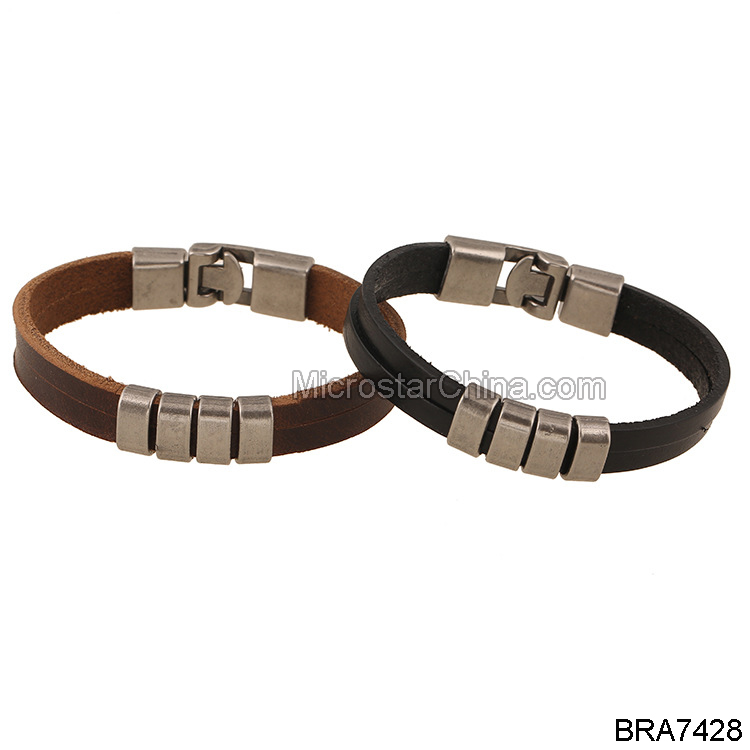 Popular Men's Jewelry Fashion Handmade Woven Genuine Leather Alloy Tag Punk Bracelet