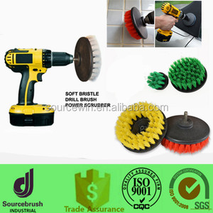 Threaded Medium Green Polisher Drill 5 inch Scrub Dual Action Rotary Brush For Electric and Air Pneumatic