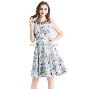 Wholesale Sleeveless Floral Dress Women Fashion Midi Dress