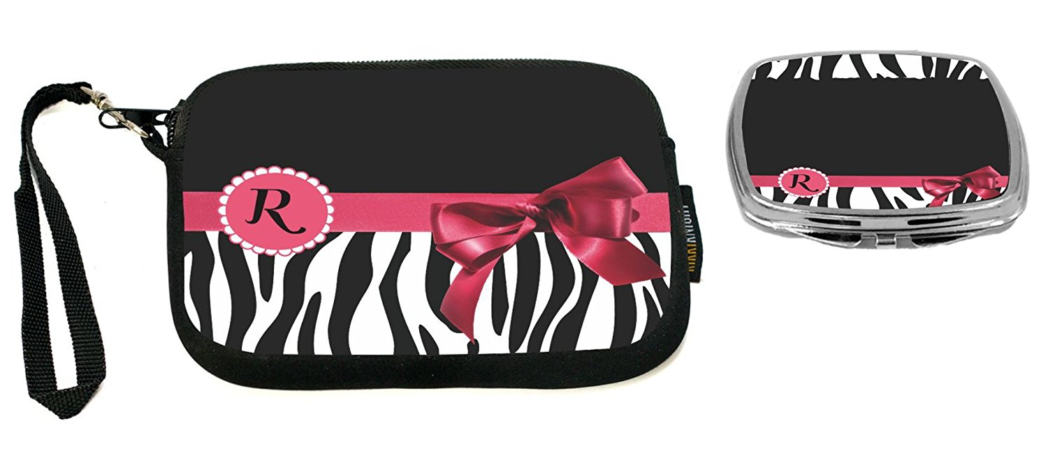 """Rikki Knight Letter"""" R"""" Tropical Pink Zebra Bow Monogram Design Neoprene Clutch Wristlet with Matching Square Compact Mirror"""