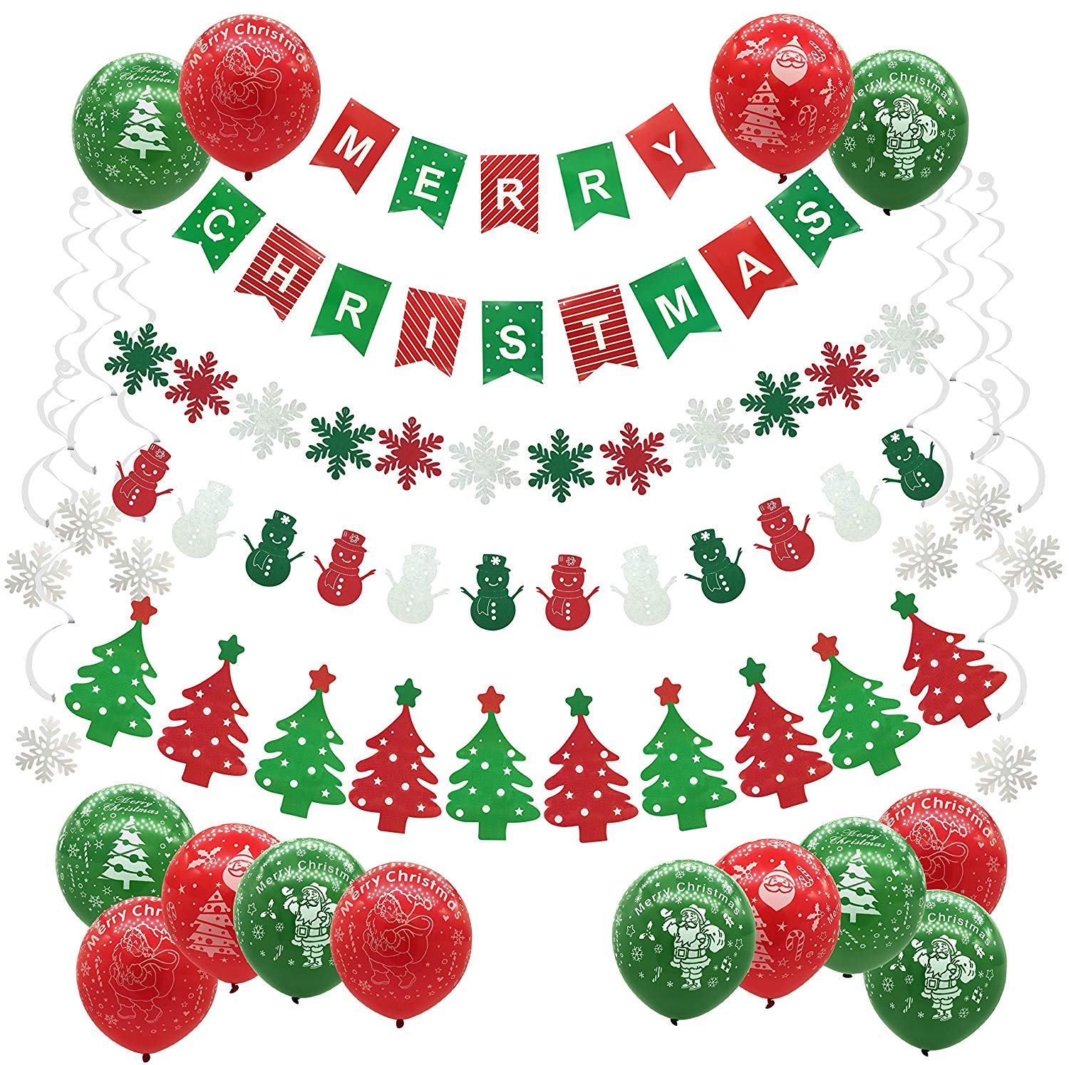 Cocodeko Merry Christmas Decoration, Christmas Garlands Banner with Trees Snowflake Snowman Banner and Snowflake Hanging Swirls Christmas Balloons for Xmas Ornaments Party Decoration