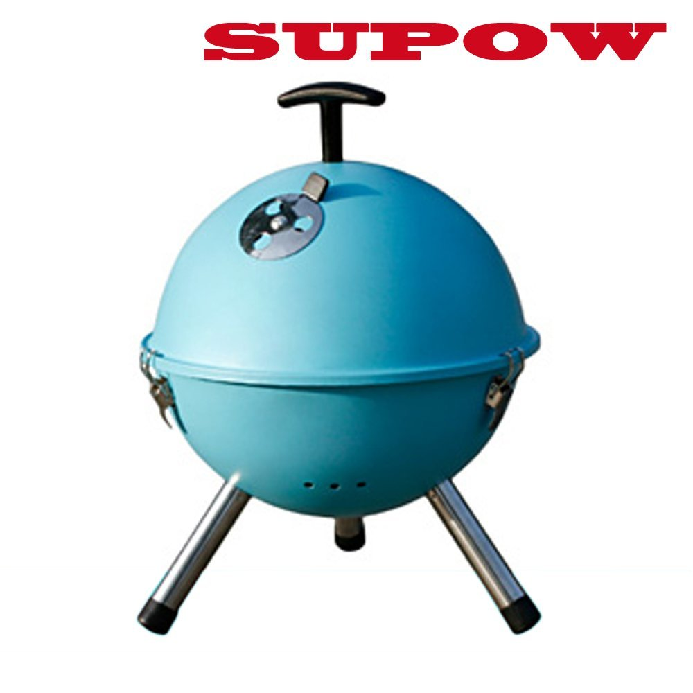 SUPOW(TM) Folding Portable BBQ Circular Round Barbecue Grill Campfire Cooking Set Furnace Outdoor Carbon Roti Oven Courtyard Cookware (Blue)