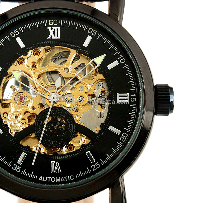 Black Full Automatic Skeleton Watch WM309