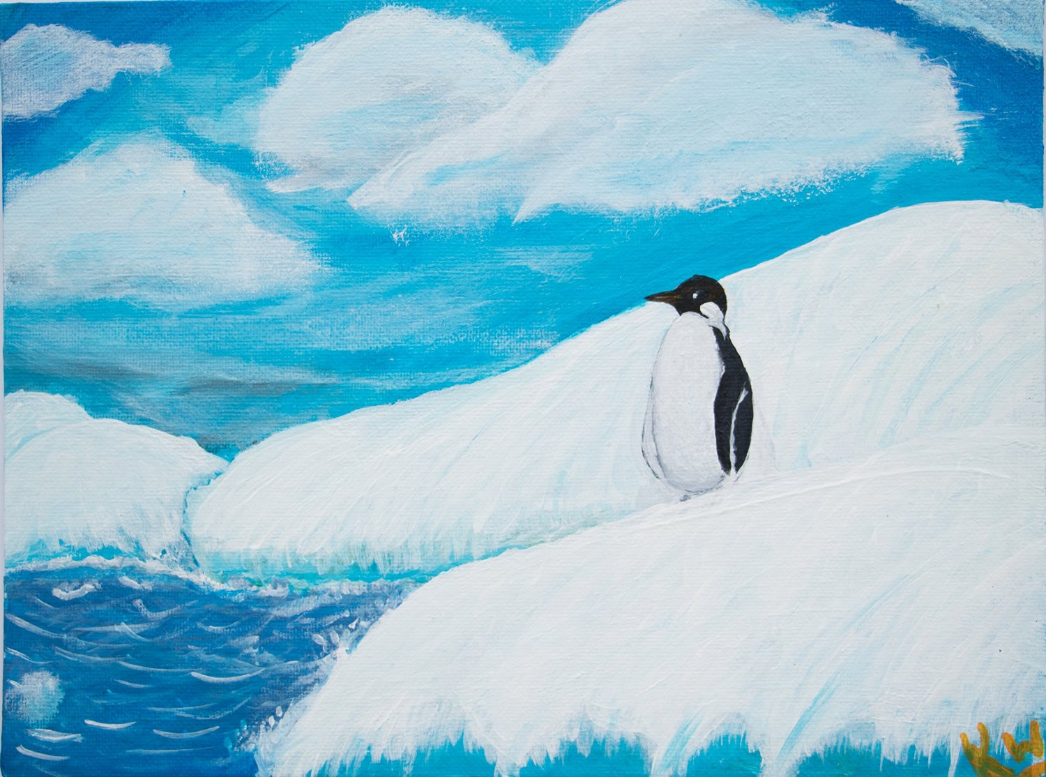 Original Painting Modern Art Acrylic Painting Decorative Art Wall Decor Nature Paintings Penguin Wildlife Water Painting Landscape Painting Scenery Paintings Art For Sale