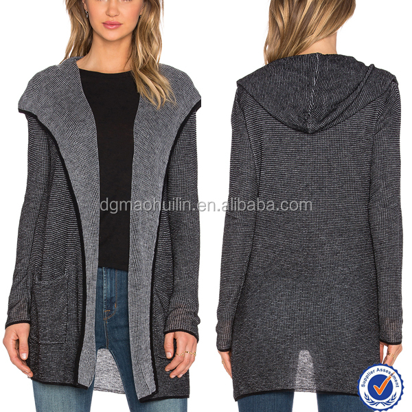 Autumn fall cashmere blend hooded cardigan women cardigan coat type jacket