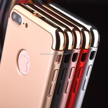 3 in 1 combo hard pc case for iphone 7, for iphone 7 case cover electroplated phone case