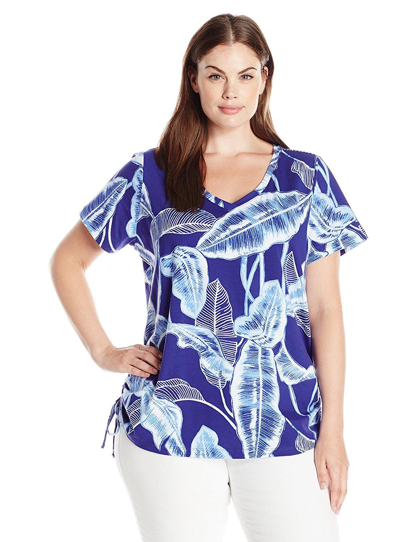 01cadd2d1dc Caribbean Joe Women s Plus Size Multi Color Printed Cotton Spandex Short  Sleeve V Neck Side Ruched