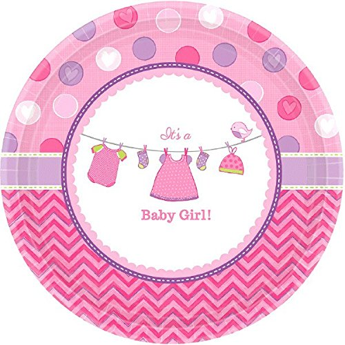 """Amscan Pretty Shower with Love Girl Round Baby Shower Party Paper Plates (8 Piece), 7"""", Pink"""