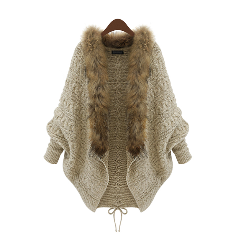 Womens Cardigan Faux Fur Batwing Long Sleeve Color Beige Sweater Casual Stylish Loose Knitwear Oversize LS114