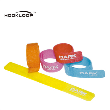 Fashion high sticky flexible hook and loop cable tie with custom logo printed