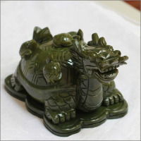 Green jade stone dragon turtle statue
