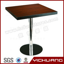 YCX-T27A Melamine table top and stainless steel table leg bar and cafe table
