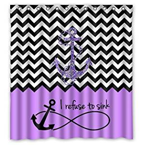 "66""(Width) x 72""(Height)Stylish Lovely Purple Block Chevron Zigzag Infinity Anchor Quotes I refuse to Sink Pattern Bathroom Shower Curtain Shower Rings Included (New Polyester) - Comfortable Life Bathroom Exclusive"