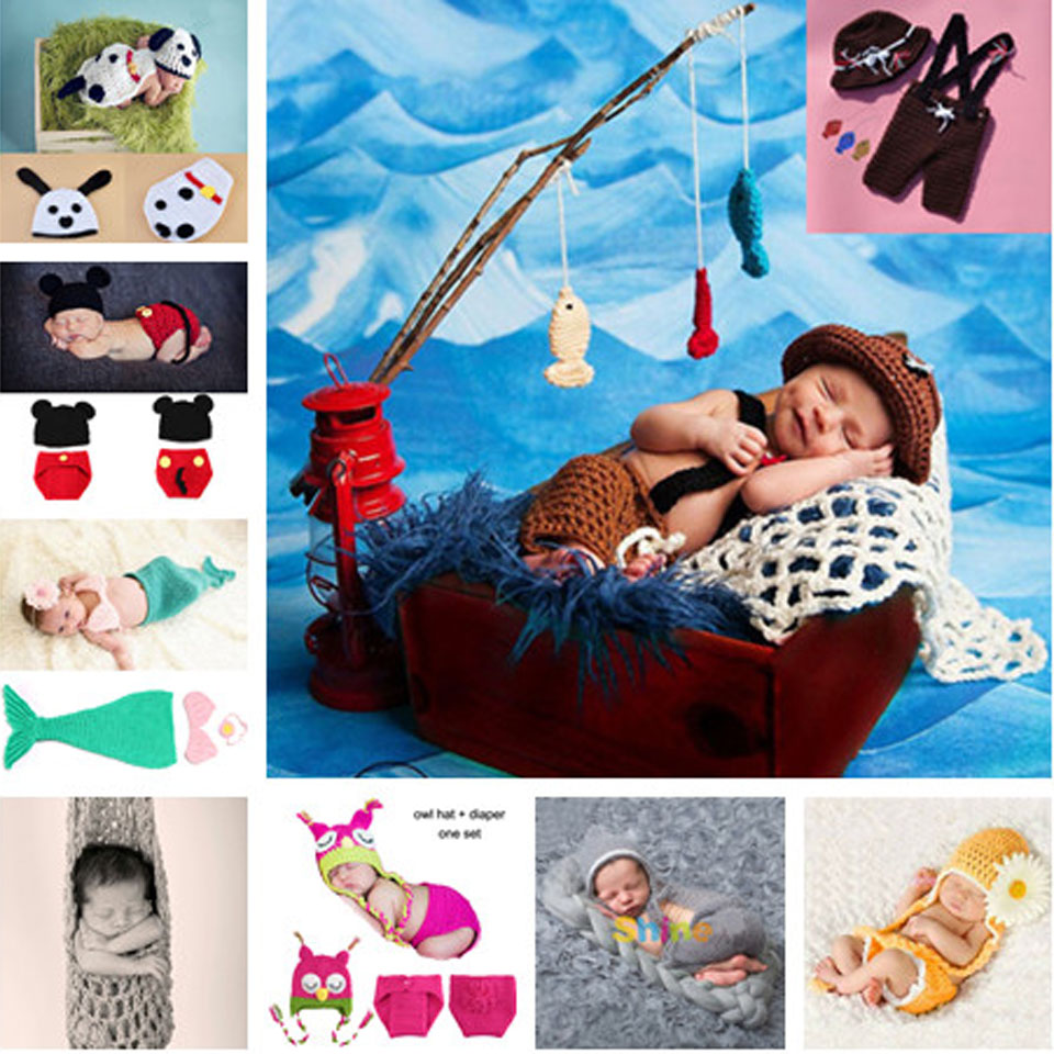 Crochet Baby Animal Hats and Diaper Sets Infant Baby Photography Props Crochet Baby Costume Clothes 1set