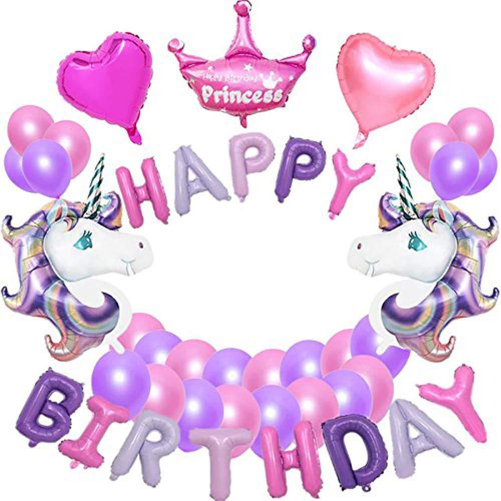 VSTON Unicorn Party Decoration Purple Balloons Happy Birthday Banner Princess Crown 2 Heart