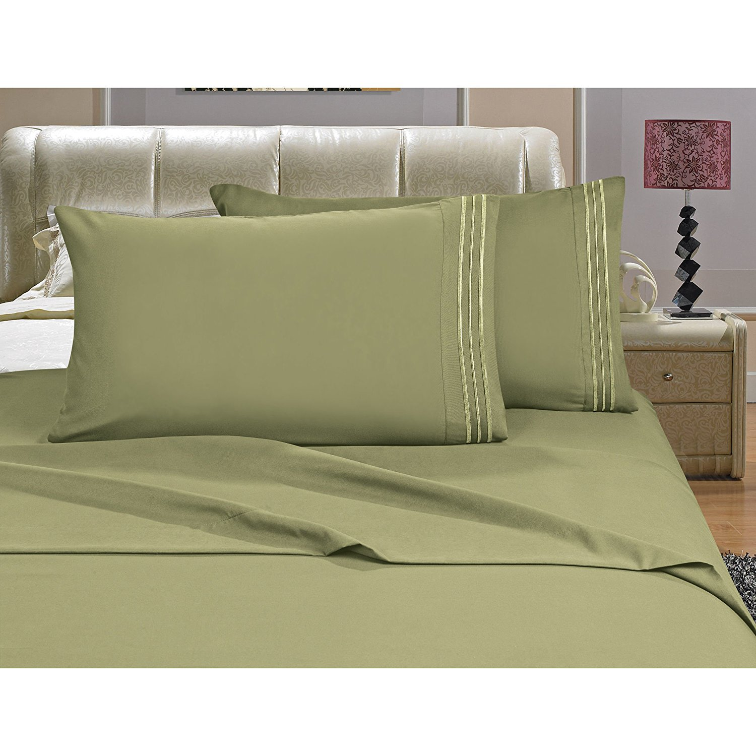 OSK 4 Piece Girls Sage Green Embroidered Stripe Sheet Full Set, Light Green Color Solid Pattern Design Kids Bedding, Luxurious Colorful Traditional Teen Themed, Polyester Microfiber