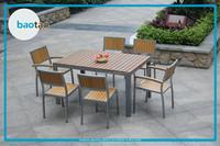 Rattan Outdoor Plastic Wood Bench And Table,Outdoor Garden ...