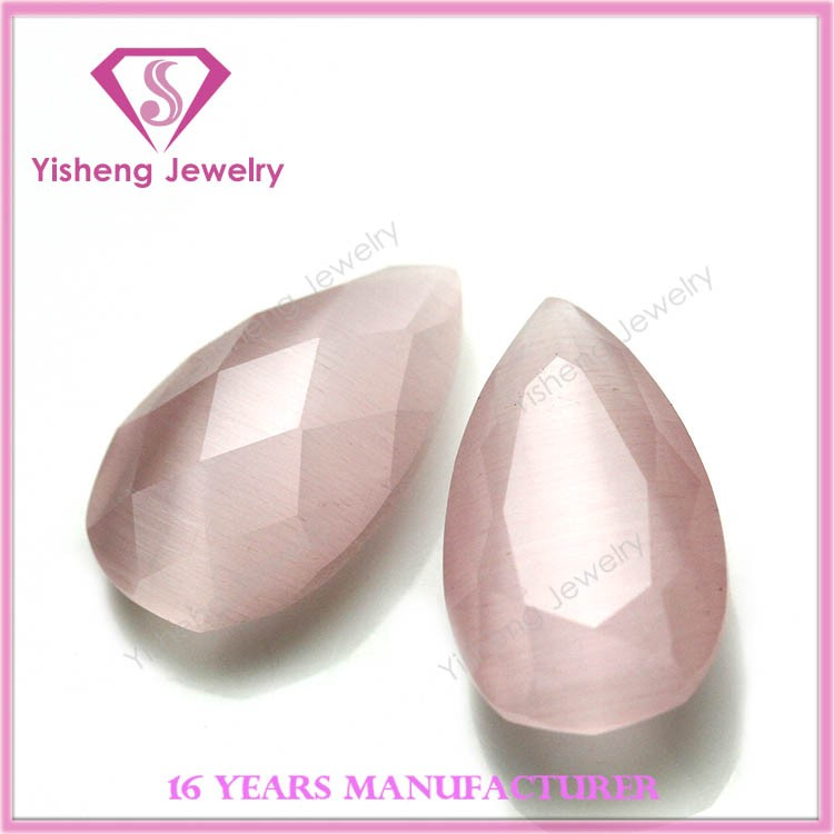 Faceted Pear Shape Machine Cut Fake Natural Gemstones Cats Eye Stone