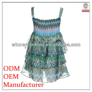Women sexy fashion design sleeveless smocking peacock pattern dress