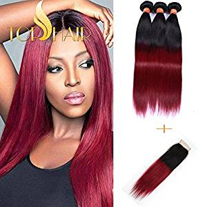 """Top Hair Brazilian Ombre Hair 3 bundles/300g 20""""20""""20"""" & Closure 20"""" Ombre Burgundy Hair Extensions Black to Red Straight to Wave & Invisible Lace Closure Natural Virgin Remy 100% (Ombre 1B/Burgundy)"""