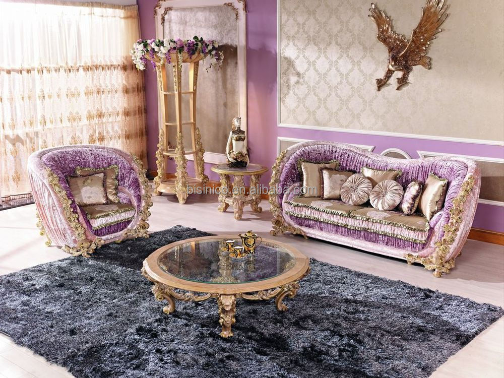 Luxury Italian Royal Living Room Furniture Sofa/Classical Rose Wooden  Carving Sofa Set/New