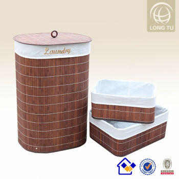 Oval Round Bamboo Laundry Hamper Made Of Recycled Material Import From China