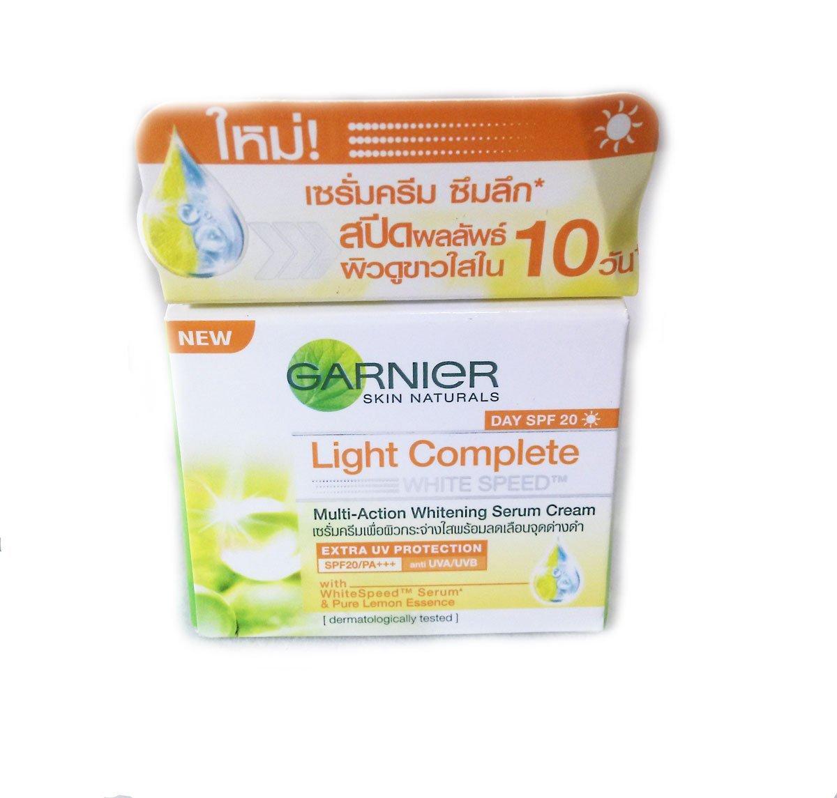 Garnier Light Complete White Speed Day Serum Cream Uvauvb 40 Ml 20 Gr Multi Action Whitening Net Wt 18