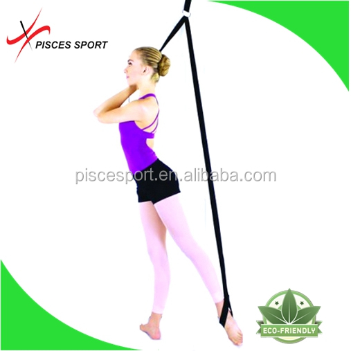 High quality gym band and leg strap and ballet stretch band against door