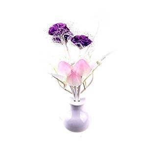 WXLAA Night Light Mushroom Lilac Lamp Energy Saving Lovely Colorful LED Sensor Night Lamp Light Home Illumination US Plug