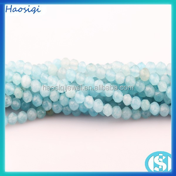HSQ-0595 Natural round faceted blue dyed jade beads for jewelry making