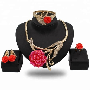 African Beads Jewelry Set Big Flower Indian Bridal Jewelry Sets For Women Round Ethiopian Wedding Jewelry Sets