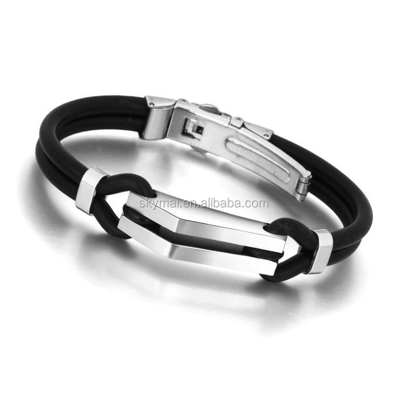 Mens Boys Silver Stainless Steel Black PU Leather Cuff Bangle Bracelet Wristband